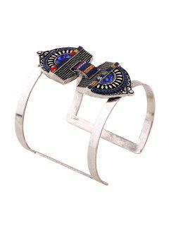 Stylish Bead Decorated Cuff Bracelet - Sapphire Blue