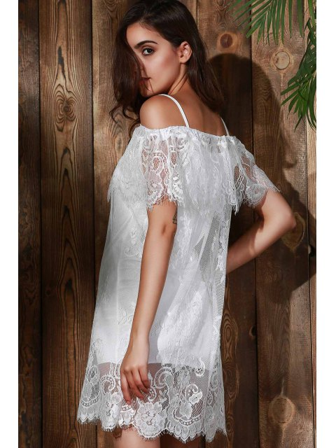 women's See-Through Off The Shoulder Lace Dress - WHITE S Mobile