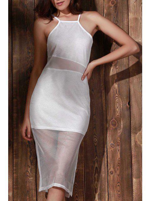 online Double-Layered Spaghetti Straps Beach Dress - WHITE M Mobile