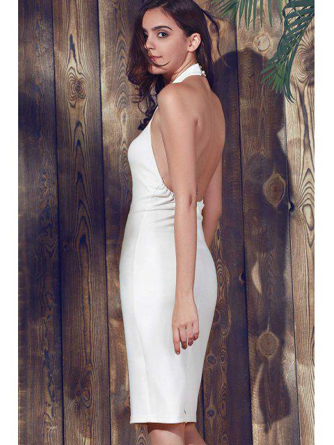 women's Halter Sleeveless Sheath Midi Dress - WHITE L Mobile