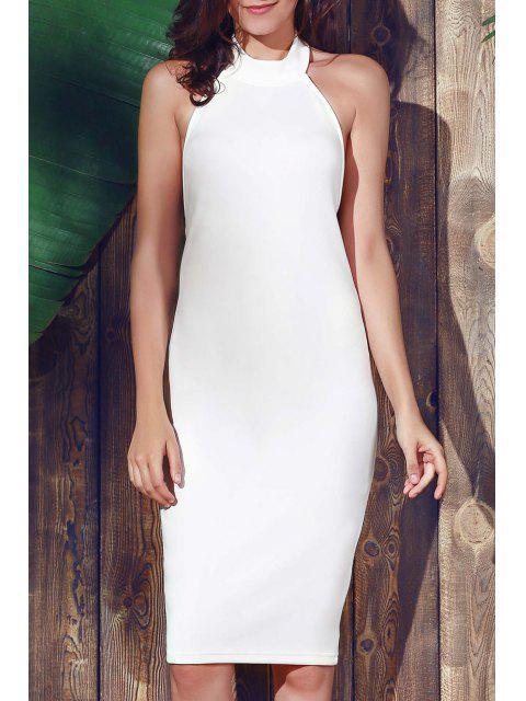 Halter manches gaine Midi Dress - Blanc L Mobile
