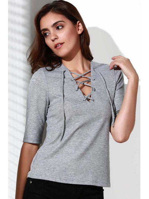 trendy Pleated Plunging Neck Short Sleeve T-Shirt - GRAY M Mobile