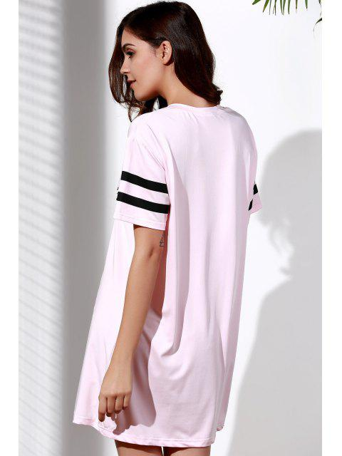 T-shirt en couleur rose imprimé à motif de lettres - ROSE PÂLE 2XL Mobile
