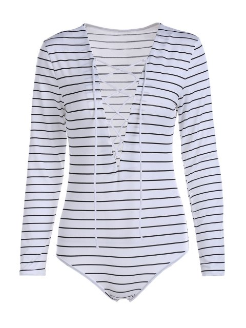 affordable Striped Plunging Neck Long Sleeve Lace Up Bodysuit - WHITE XL Mobile
