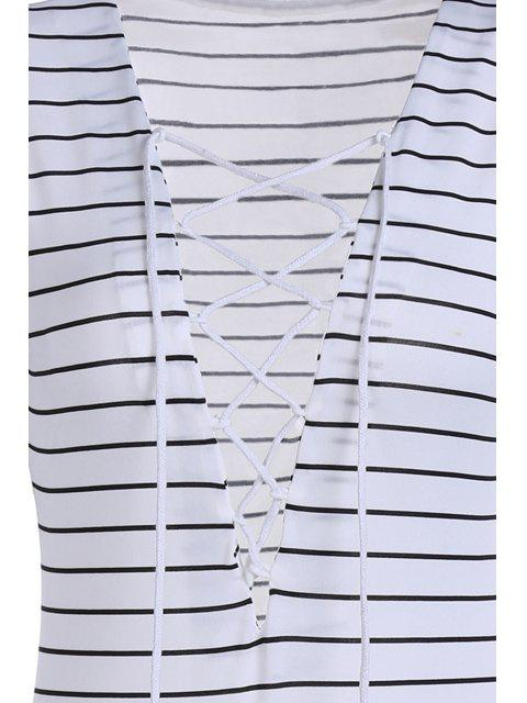 fancy Striped Plunging Neck Long Sleeve Lace Up Bodysuit - WHITE S Mobile