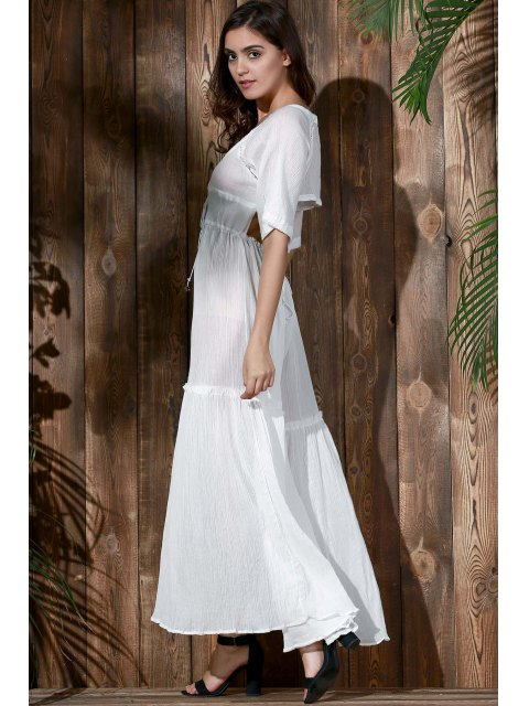 online Open Back Tiered Flowing Dress - WHITE L Mobile