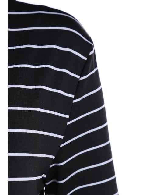 Rayé Plongeant cou à manches longues Lace Up Bodysuit - Noir L Mobile
