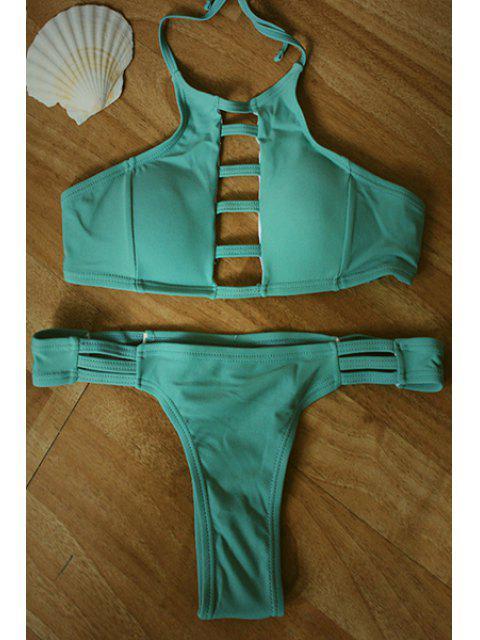 women Green Halter Hollow Bikini Set - GREEN M Mobile