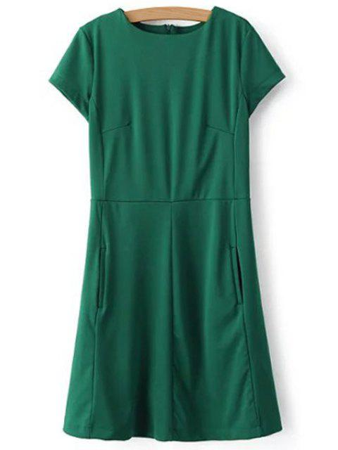 affordable Green Round Neck Short Sleeve Dress - GREEN S Mobile