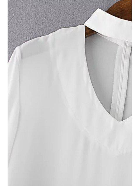 women V Neck Flared Sleeve Choker Blouse - BLACK S Mobile