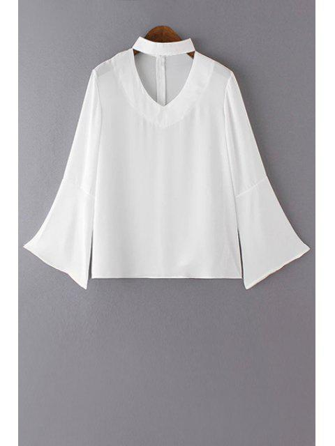 buy V Neck Flared Sleeve Choker Blouse - WHITE L Mobile