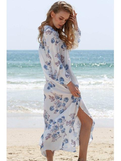 shops Full Floral V-Neck Long Sleeve Maxi Dress - WHITE M Mobile