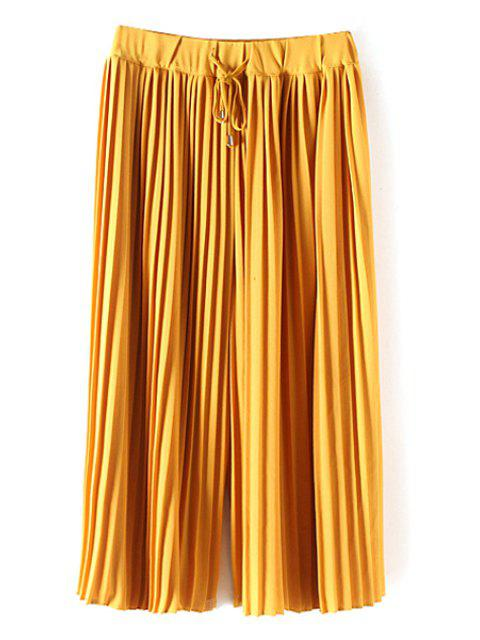 latest Pleated Elastic Waist Solid Color Culotte - YELLOW M Mobile