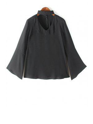 V Neck Flared Sleeve Choker Blouse - Black Xl