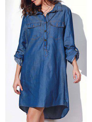Button Design Rolled Up Sleeve Shirt Dress - Blue Xl
