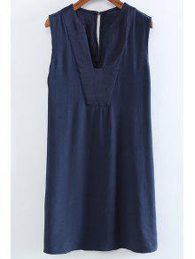 Color Sólido Con Cuello En V Sin Mangas Vestido De Orificio - Azul Purpúreo M