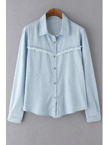Frayed Bleach Wash Denim Shirt - Light Blue L
