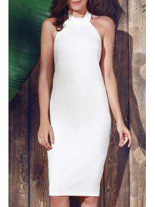 Halter Sleeveless Sheath Midi Dress - White L