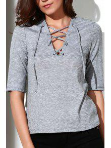 Pleated Plunging Neck Short Sleeve T-Shirt - Gray L