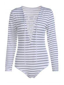 Striped Plunging Neck Long Sleeve Lace Up Bodysuit - White Xl