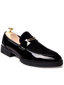 أزياء براءات الاختراع والجلود الأسود تصميم أحذية رسمية للرجال - أسود 41