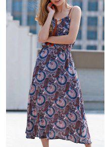 Paisley Print Spaghetti Straps Dress - Purple 2xl