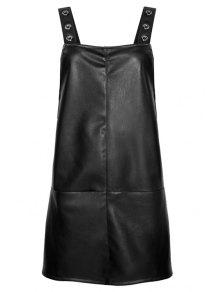 Black PU Leather Suspender Dress - Black S