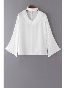 Buy V Neck Flared Sleeve Choker Blouse - WHITE XL