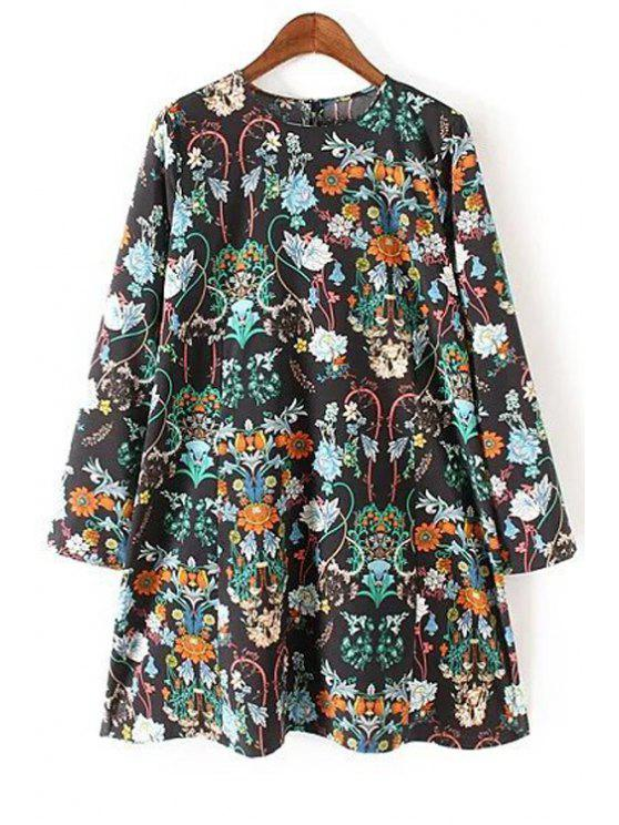 Vestido de lã de manga floral - Preto S