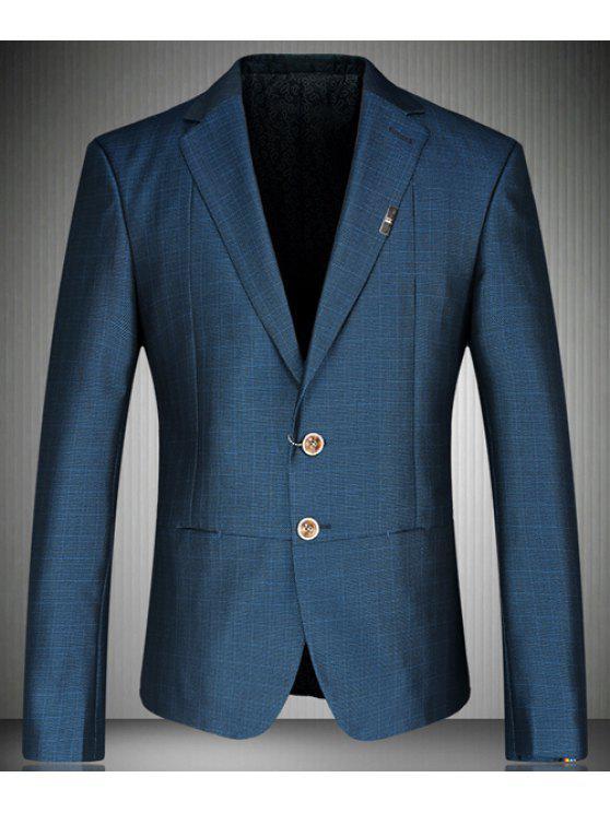 Turn-Down-Kragen Bunte Design-Cuffs Langarm-Blazer der Männer - Blau L