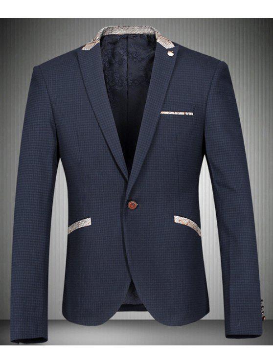 Turn-Down-Kragen-Fisch-Haut-Entwurf Splicing Langarm-Blazer der Männer - Cadetblue L