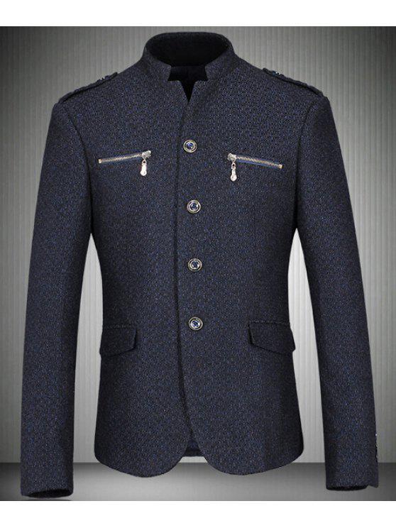 ac2b122a6888 Collar del soporte de la cremallera Bolsillos Blazer Diseño hombre de manga  larga - Cadetblue M