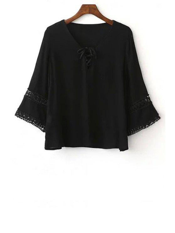 women's Solid Color Lace-Up Round Neck 3/4 Sleeve Blouse - BLACK M