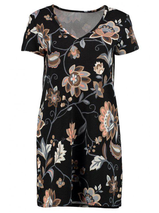 V-cuello impreso vestido de manga corta - Negro L