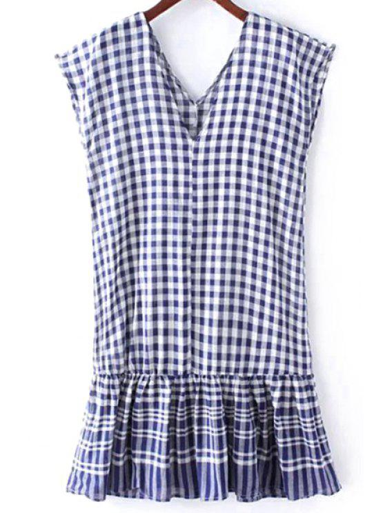 affordable Checked Flounce Ruffles V Neck Sleeveless Dress - BLUE ONE SIZE(FIT SIZE XS TO M)