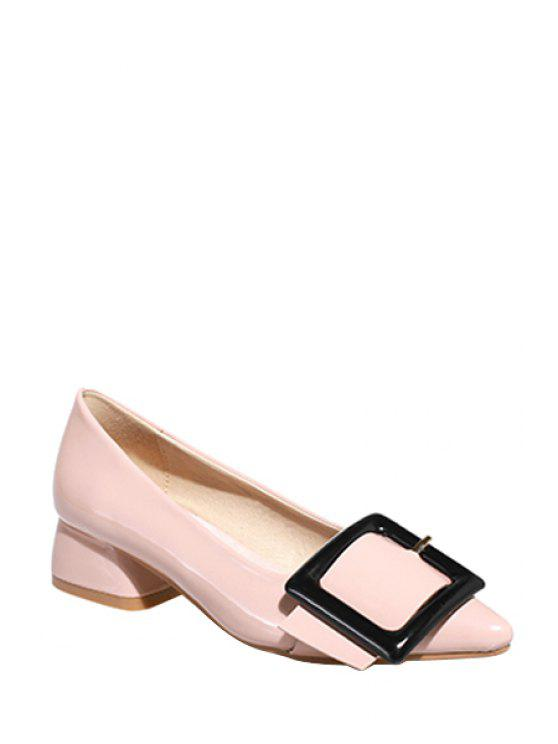 fashion Square Buckle Pointed Toe Pumps - LIGHT PINK 37