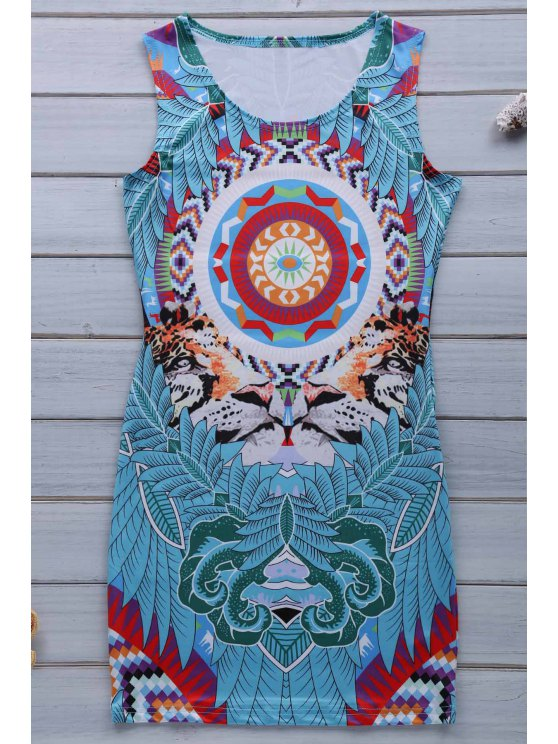 Retro Print Jewel Neck manches Sundress - Bleu XL