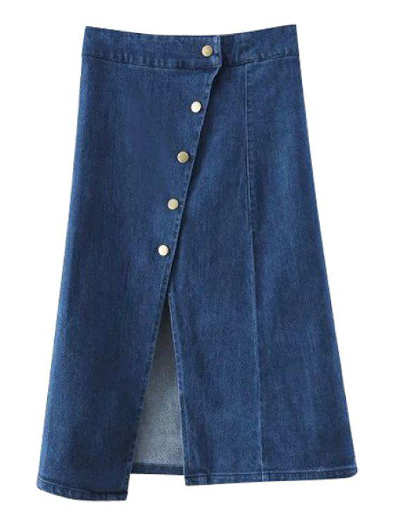 trendy Solid Color Single-Breasted High Waist Denim Skirt - DEEP BLUE L