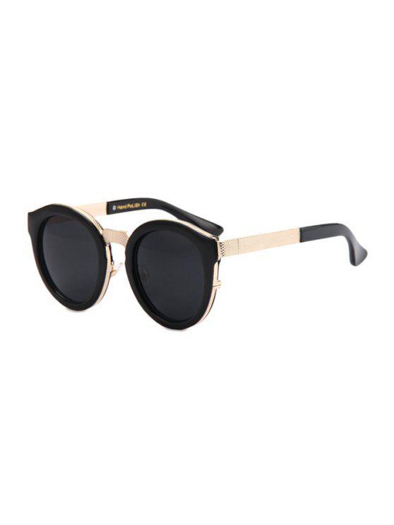 new Black Frame Metal Splicing Sunglasses - BLACK