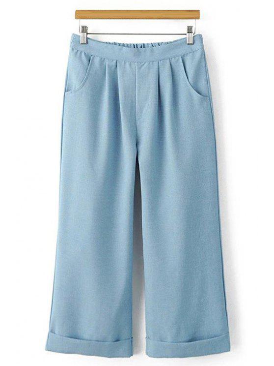 Cintura elástica pantalones anchos de la pierna de Capri - Azul L