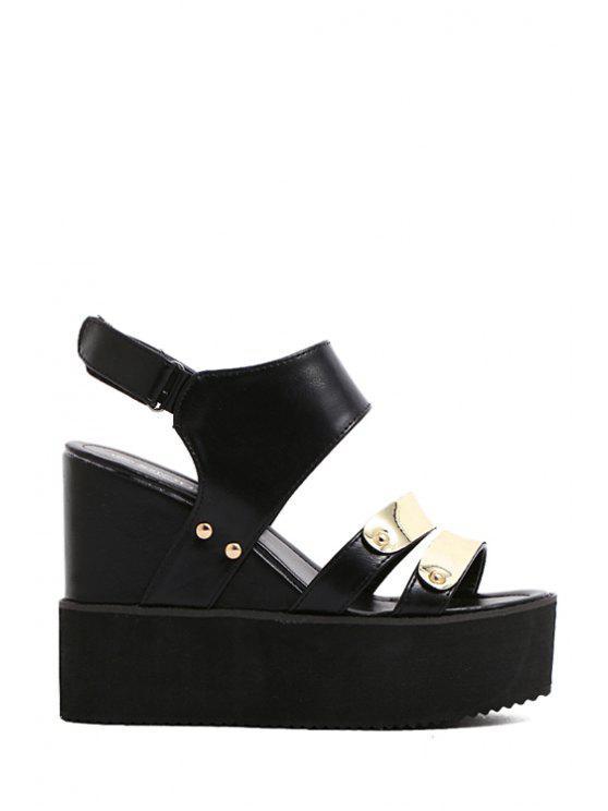 unique Metal  Wedge Heel Sandals - BLACK 39
