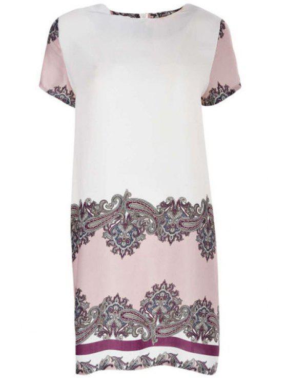 Robe imprimée vintage à col rond à manches courtes - Multicolore XL
