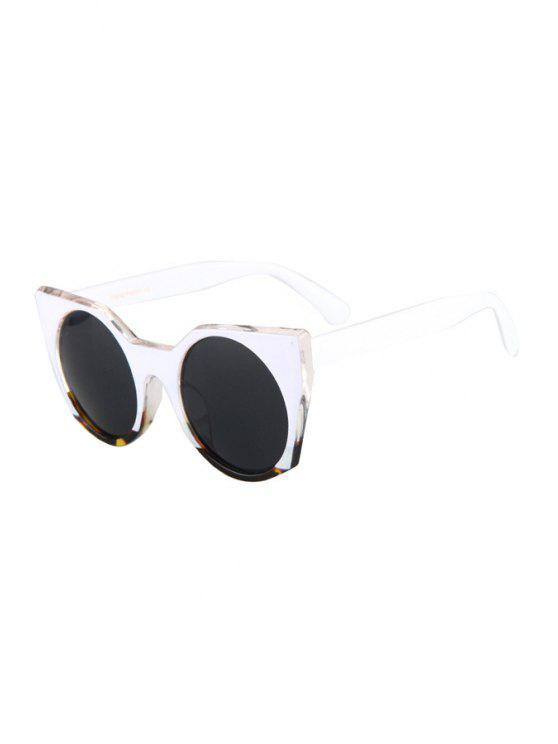 online Round Lenses White Match Cat Eye Sunglasses - BLACK