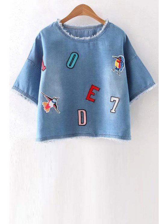 hot Appliqued Frayed Denim T-Shirt - BLUE M