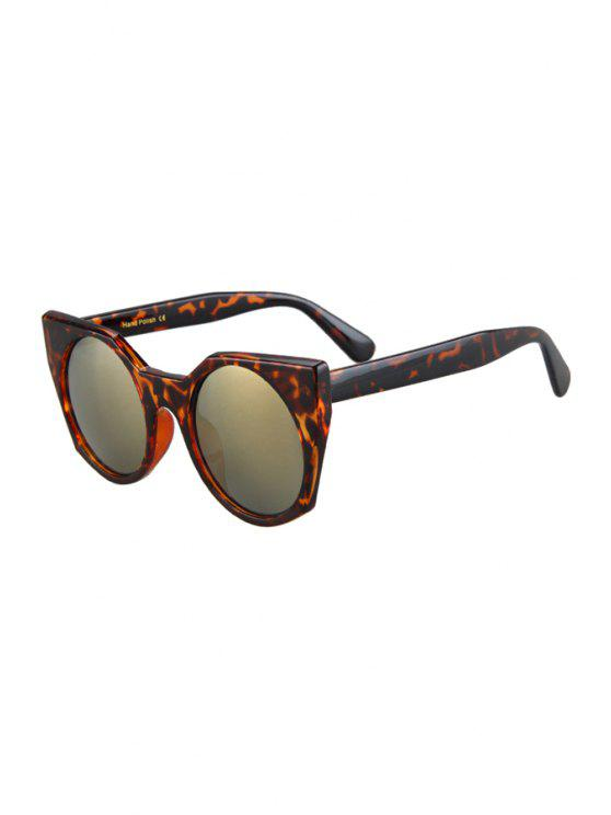 women Round Lenses Leopard Pattern Cat Eye Sunglasses - BROWN