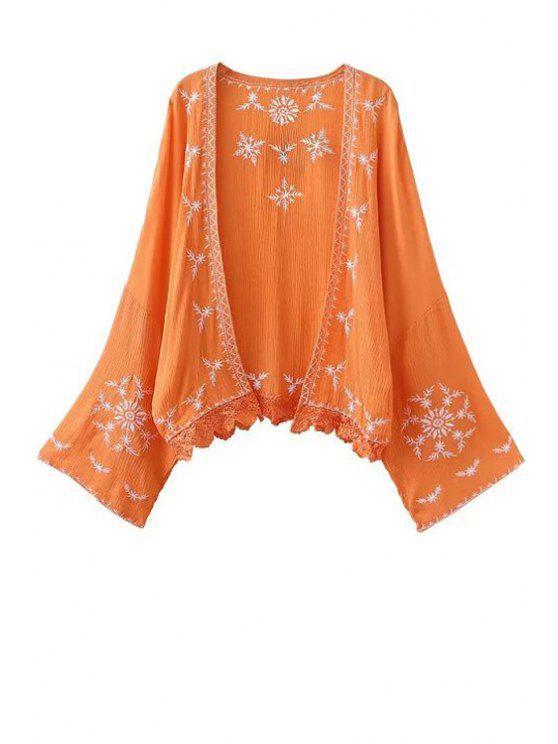 latest Kimono Sleeve Embroidered Blouse - ORANGE L