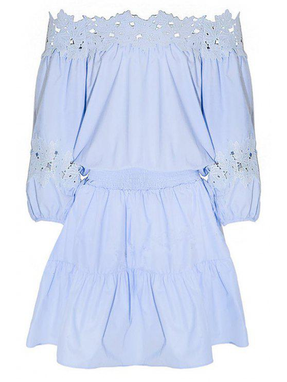 hot Light Blue Lace Splice Off The Shoulder Dress - LIGHT BLUE S