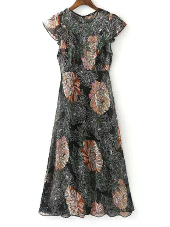 fancy Ruffle Sleeve Floral Print Dress + Black Cami Dress Twinset - COLORMIX M