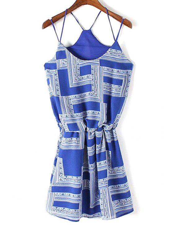 hot Geometric Print Cami Dress - BLUE AND WHITE M