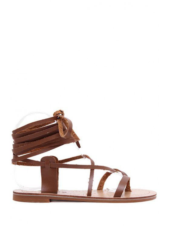 67bd63f87b69d6 37% OFF  2019 Lace-Up Flat Heel Sandals In BROWN